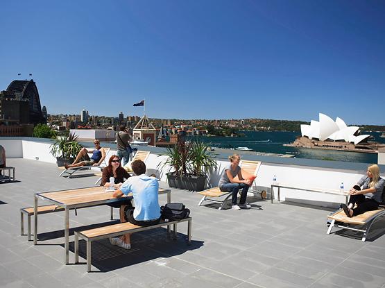 Sydney Harbour YHA – rooftop terrace.