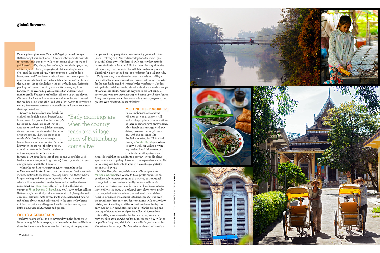BBC Delicious Magazine (Australia). Global Plates feature on Battambang, Cambodia. Lara Dunston. Photography: Terence Carter.